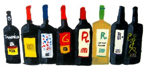 Dibujo de varias botellas de Remírez de Ganuza