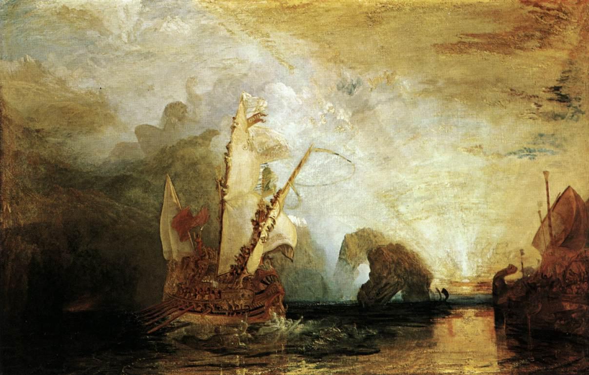 """Obra de Joseph Mallord Willim Turner """"Ulysses deriding Poliphemus"""""""