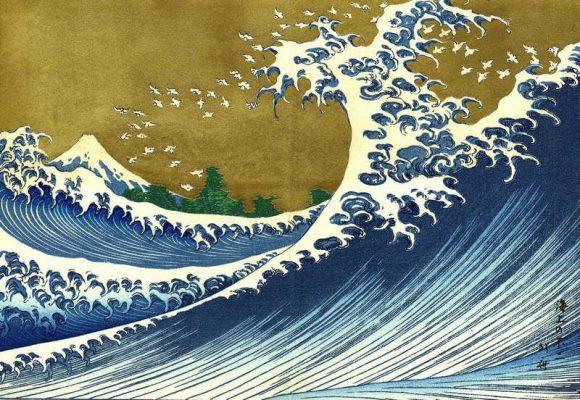 Famosa estampa del artista japonés Katsushika Hokusai. La imagen muestra una gran ola en altamar cerca de Kanazawa