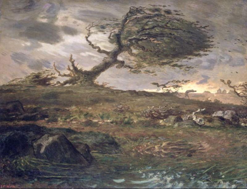 The Gust of Wind, obra pictórica de Jean François Millet