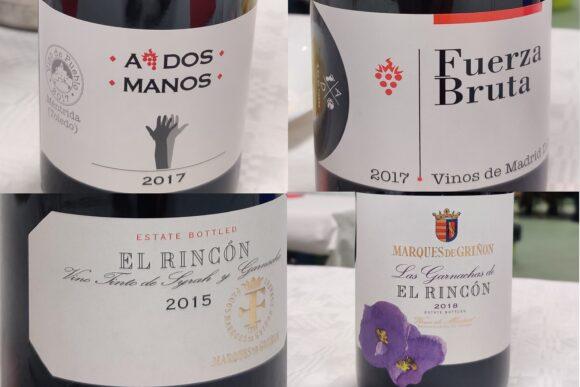 Etiquetas de los cuatro vinos catados
